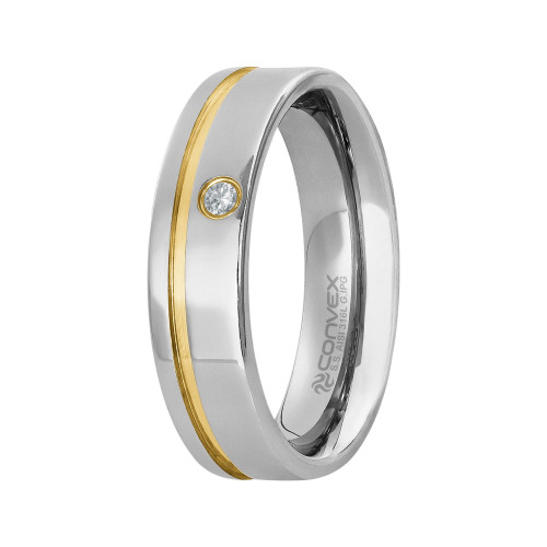 Aliança Aço Paris 6mm com Zircônia 2.00mm e Filete Lateral Gold IPG